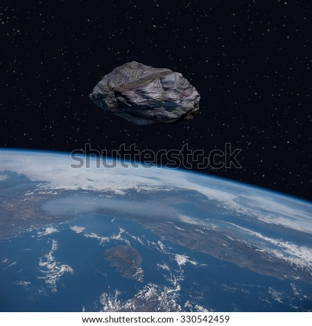 Asteroid orbits close to the planet Earth - 3D Scene. Elements of this image furnished by NASA.  - stock photo