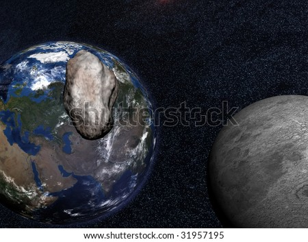 Asteroid passing close to the moon on its way to impact on earth - stock photo