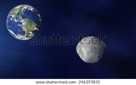 Asteroid rushing towards the Earth. Elements of this image furnished by NASA. - stock photo