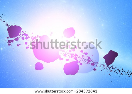 Asteroids and planets on a starry background. Digital illustration. - stock photo