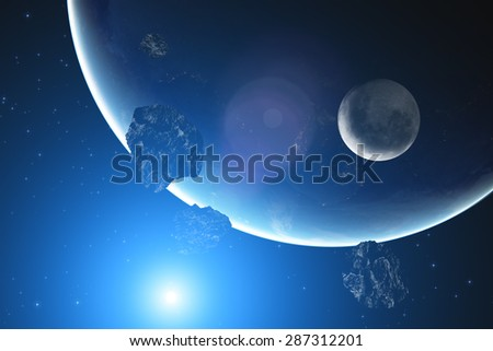Asteroids and planets on a starry background. Elements of this image furnished by NASA. Digital illustration. - stock photo