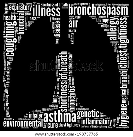 Asthma in word collage - stock photo