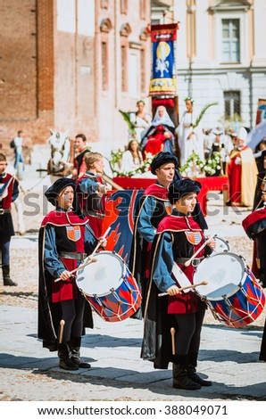 Asti, Italy - September 16, 2012: the historical Medieval parade of the Palio of Asti in Piedmont, Italy. Drummer in medieval parade