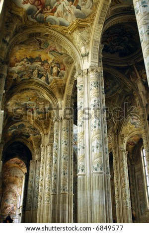 Asti (Piedmont, Italy) - Interior of the historic Cathedral, with frescos