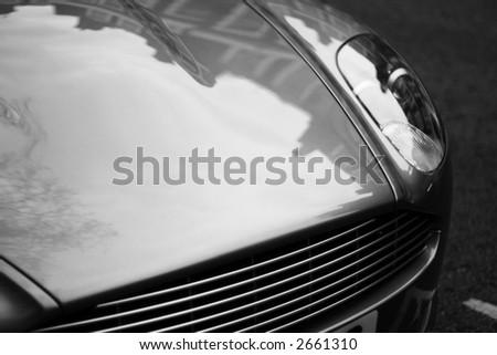 Aston Martin DB9 Bonnet - copyspace - stock photo