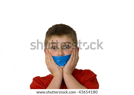 Astonished Boy with Censored Mouth - stock photo
