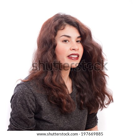 Astonished girl posing
