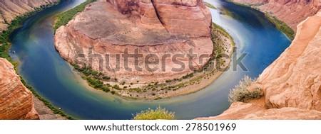 Astonishing Marvelous Horseshoe Bend in Arizona State, USA. Horizontal Image Orientation - stock photo