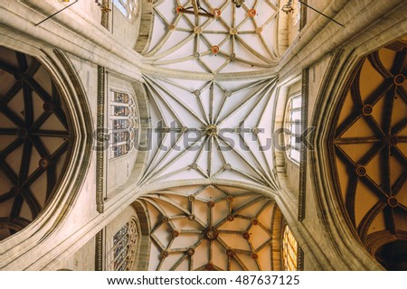 Astorga, Spain - March 27, 2015: Indoor view of the vaults of the cathedral. The town lies along the French route of the Way of St. James