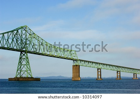 Astoria bridge over Columbia river between Oregon and Washington states - stock photo
