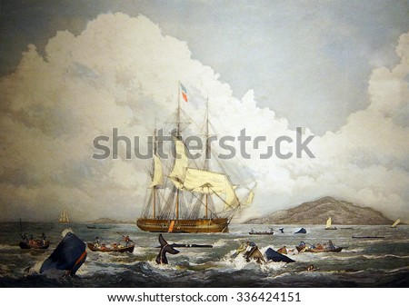 ASTORIA, OREGON - OCT 1, 2015 - British whaling ships hunting sperm whales in the South Seas, 19th century engraving,  Columbia River Maritime Museum,  Astoria, Oregon - stock photo