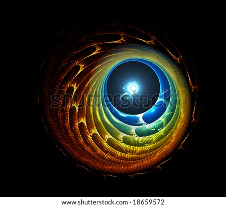 Astral tunnel and bright white dot on the end of the tunnel - stock photo