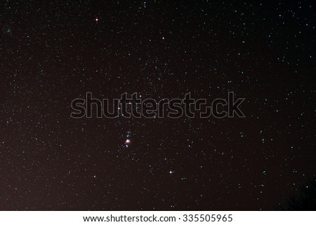 Astro Photo: Starfield with Orion and Orion Nebula - stock photo
