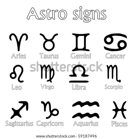 astro signs isolated on white background, abstract art illustration; for vector format please visit my gallery