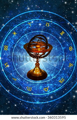 astrolabe and astrology wheel with all zodiac signs - stock photo