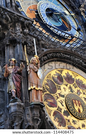 Astrological clock in Prague, Czech Republic - stock photo