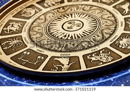 astrological plate with all signs of zodiac - stock photo