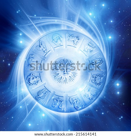 astrological plate with signs - stock photo