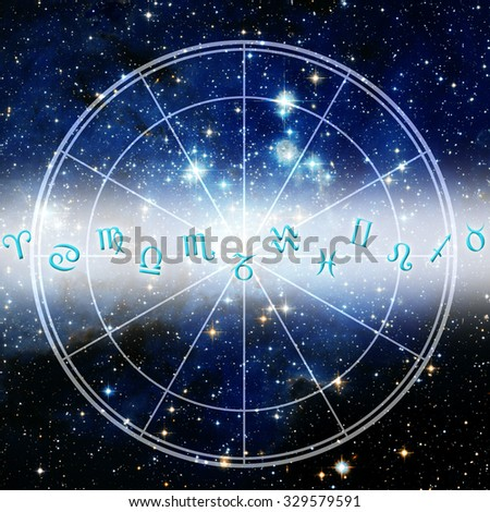 astrological signs and zodiac chart  - stock photo