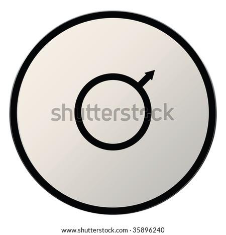 Astrological Symbol Planet Mars Button Silver Stock Illustration