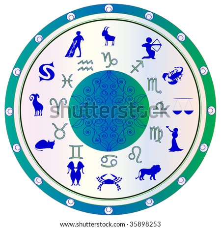astrological symbol zodiac, green and blue - stock photo