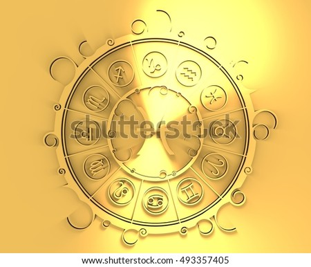 Astrological symbols in the circle. Golden emblem. Metallic material. 3d rendering. The fish sign