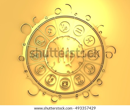 Astrological symbols in the circle. Golden emblem. Metallic material. 3d rendering. The maiden sign