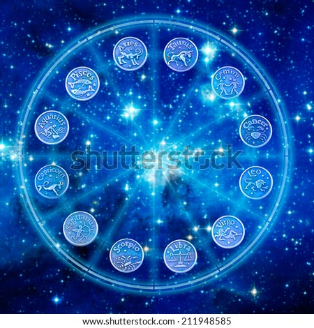 astrological wheel with all signs - stock photo