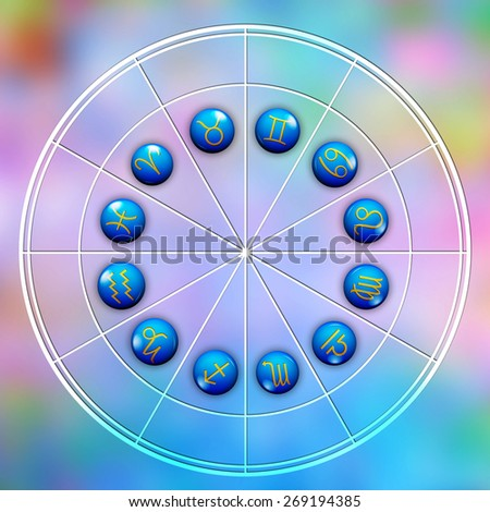 astrological wheel with signs of zodiac - stock photo