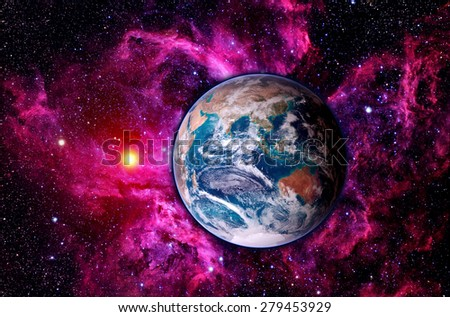 Astrology astronomy earth globe space big bang solar system creation. Elements of this image furnished by NASA. - stock photo