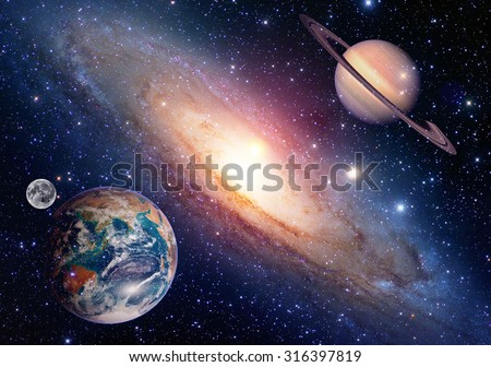 Astrology astronomy earth moon space saturn planet solar system creation. Elements of this image furnished by NASA. - stock photo