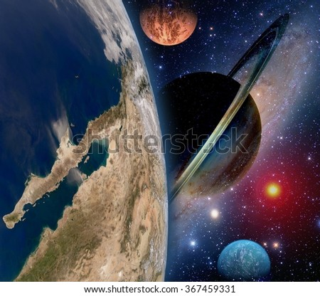Astrology astronomy earth space solar system creation saturn planet star galaxy. Elements of this image furnished by NASA. - stock photo
