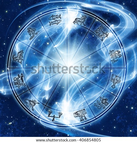 astrology chart in space with lights and flare - stock photo