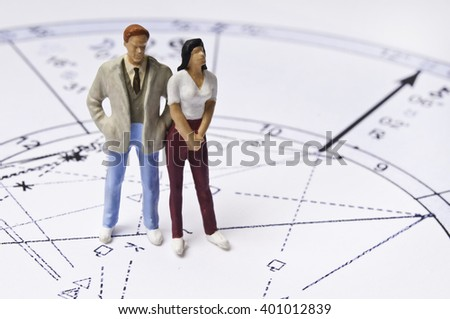 astrology chart with couple figurines, concept for astrology and love - stock photo