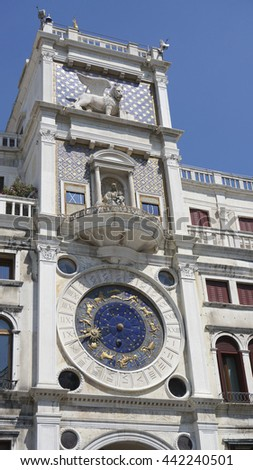 Astrology clock on the side of St. Marco square - stock photo