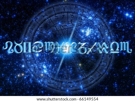 astrology concept with zodiac symbols over starry Universe and a horoscope - stock photo