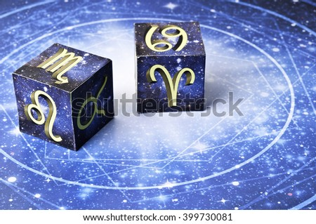 astrology cubes with zodiac signs - stock photo