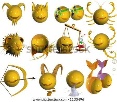 ASTROLOGY 3d EMOTICON - stock photo