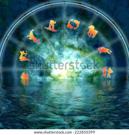 astrology illustration with zodiac signs reflected in water - stock photo