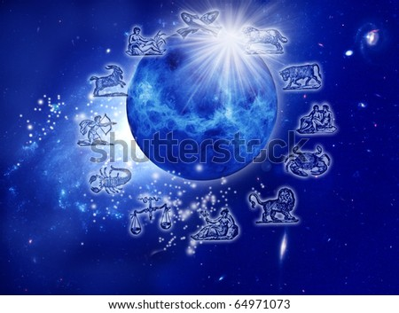 astrology represents by the planet Venus with stars, rays of light and symbols of zodiac over starry Universe - stock photo