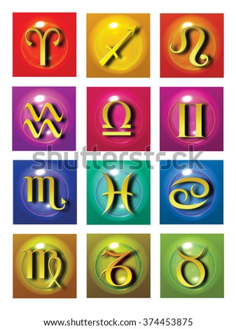astrology set of all zodiac signs - stock photo