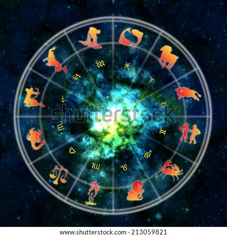 astrology wheel with zodiac signs - stock photo