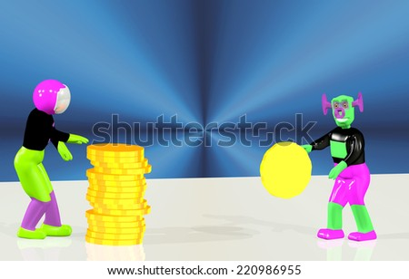 Astronaut and the alien count gold money - stock photo