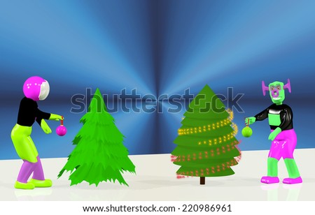 Astronaut and the alien dress up Christmas tree - stock photo