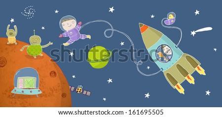 astronaut boy meeting friendly aliens - stock photo