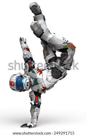 astronaut break dance - stock photo