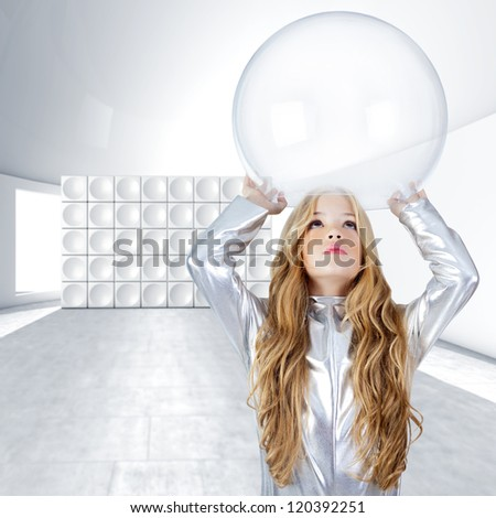 Astronaut children girl with glass bubble helmet on futuristic indoor [photo-illustration] - stock photo