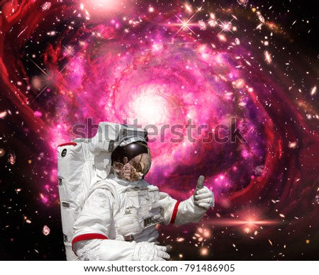 Astronaut. Deep space. Galaxies and stars. The elements of this image furnished by NASA.
