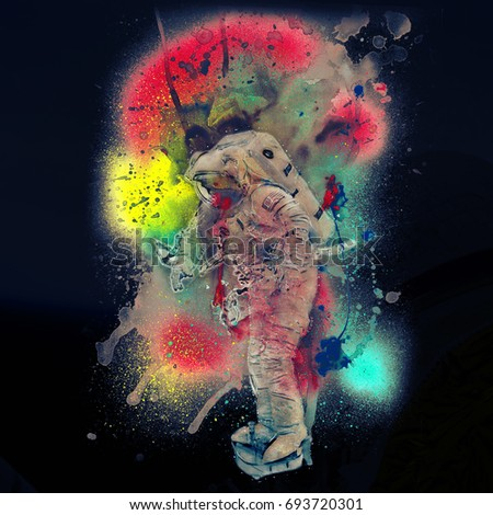 Astronaut Digital Street Painting (Elements of this image furnished by NASA)