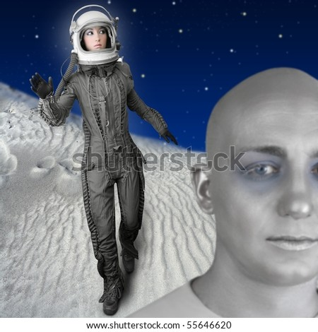 astronaut fashion woman full length space suit helmet alien planet metaphor [Photo Illustration] - stock photo